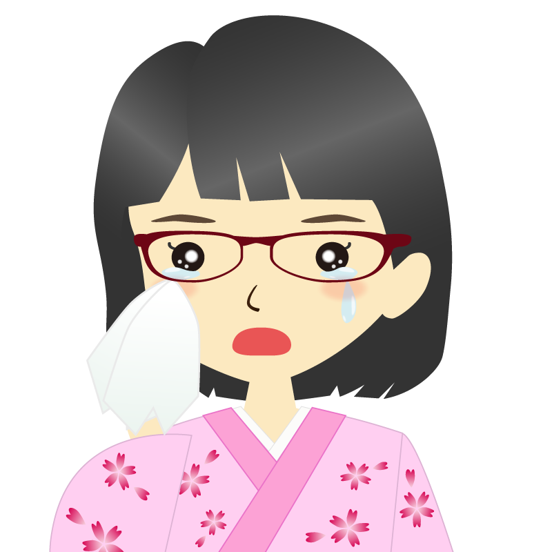 画像:着物を着た女性・おかっぱ 眼鏡 涙