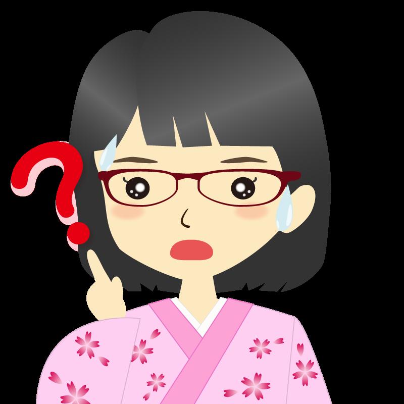 画像:着物を着た女性・おかっぱ 眼鏡 ?