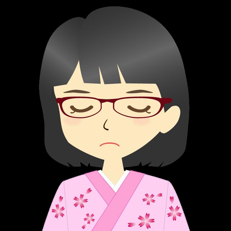 画像:着物を着た女性・おかっぱ 眼鏡 目を閉じる