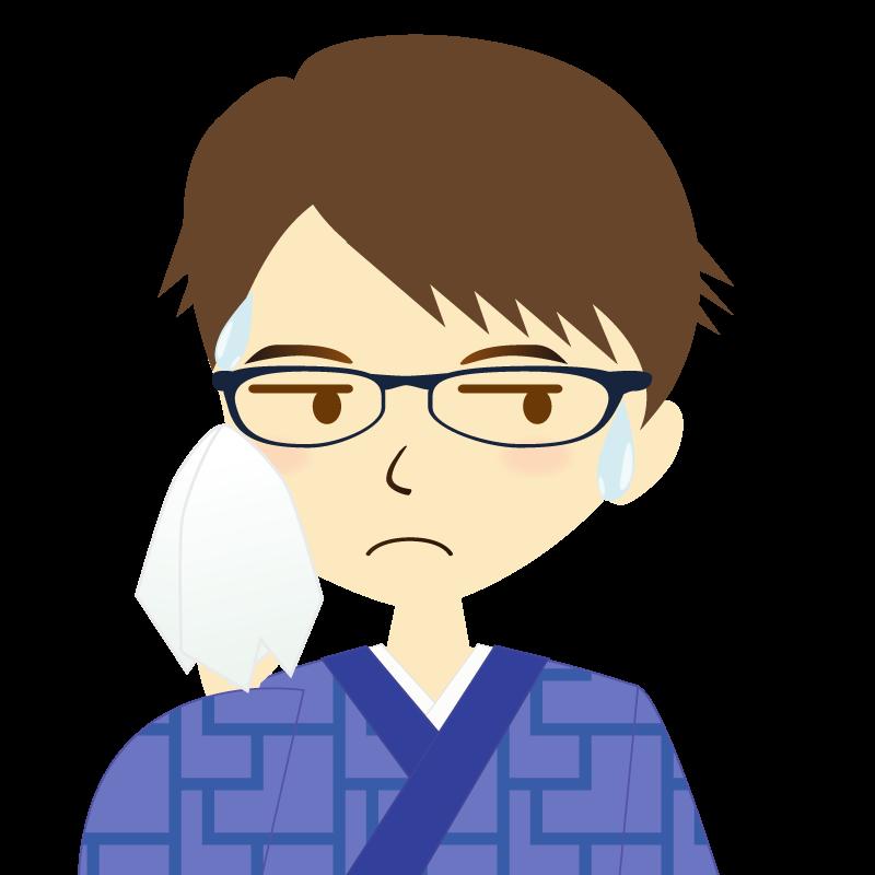 画像:着物を着た男性・横分け 眼鏡 汗