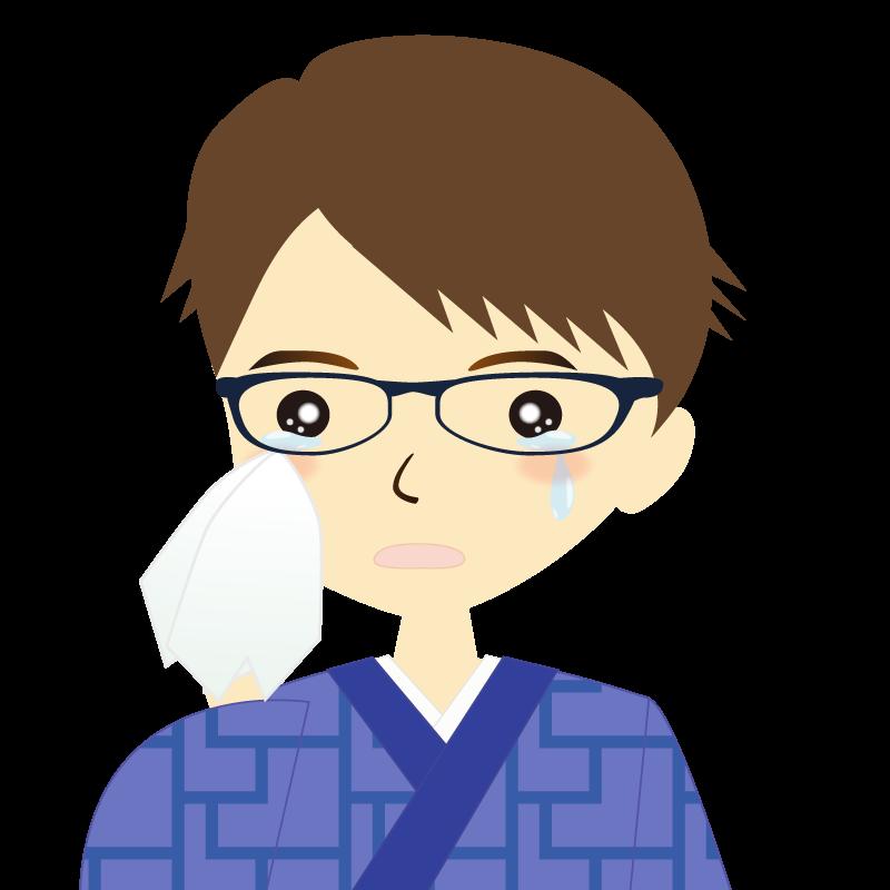 画像:着物を着た男性・横分け 眼鏡 涙