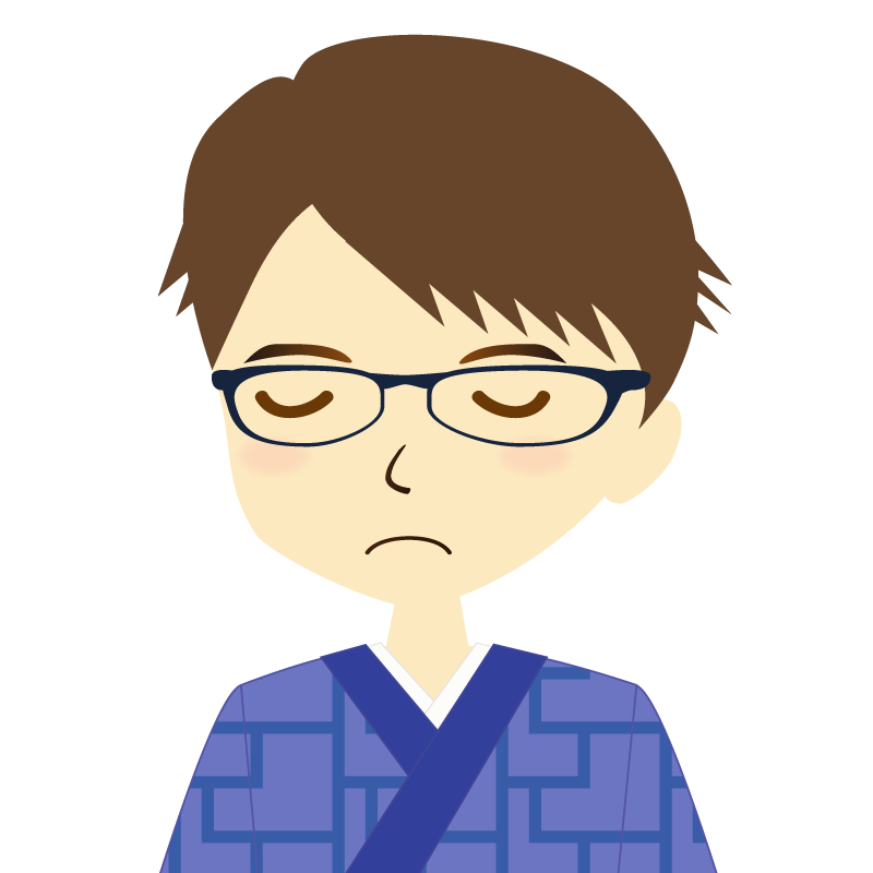画像:着物を着た男性・横分け 眼鏡 目を閉じる