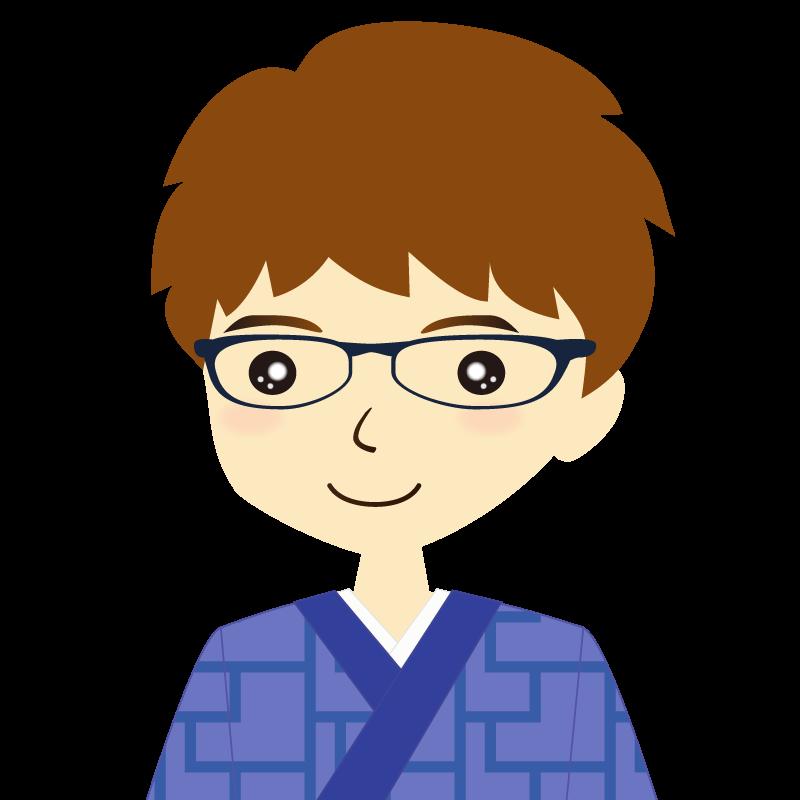 画像:着物を着た男性・パーマ頭 眼鏡 普通