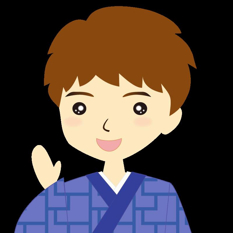 画像:着物を着た男性・パーマ頭 笑顔