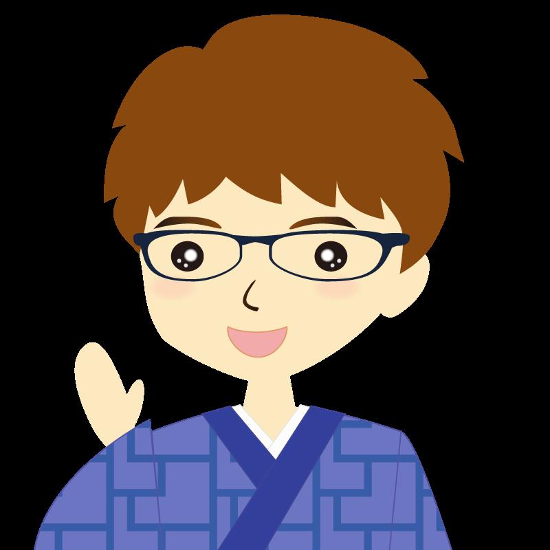 画像:着物を着た男性・パーマ頭 眼鏡 笑顔