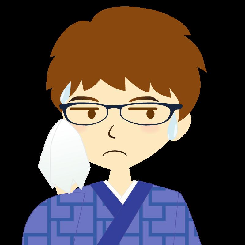 画像:着物を着た男性・パーマ頭 眼鏡 汗