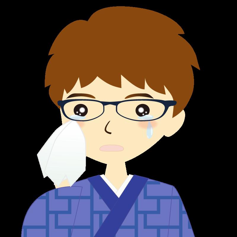 画像:着物を着た男性・パーマ頭 眼鏡 涙