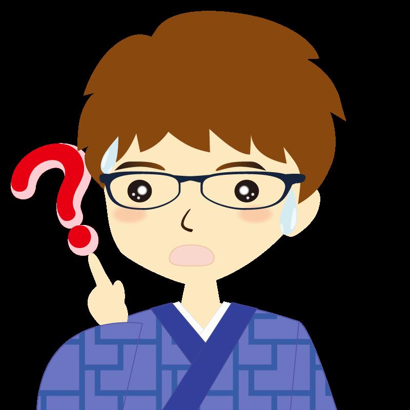 画像:着物を着た男性・パーマ頭 眼鏡 ?