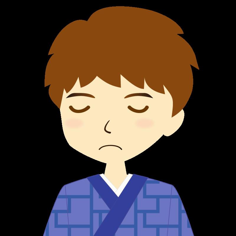 画像:着物を着た男性・パーマ頭 目を閉じる